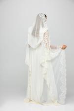 Luna Long Chiffon and Lace Nightdress & Robe Set - Cream/Off-White
