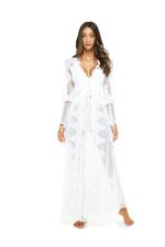 Jaipur Bridal Tulle, Satin & Lace Long Nightdress & Robe Set - White