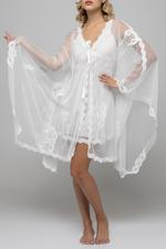 Embroidered Nightdress and Robe Set - White