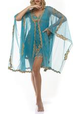 Embroidered Nightdress and Robe Set - Blue/Gold