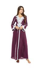 Long Voile Cotton & Lace  Jalabiya - Wine