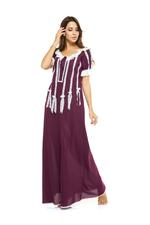 Long Voile Cotton & Lace  - Wine