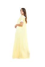 Long Voile Cotton & Lace Jalabiya - Yellow