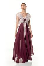 Chiffon & lace Long Nightdress - Wine