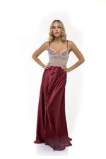 Long Lace & Satin Nightdress with Cups- Bordeaux/cream