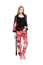 Floral Print Cami, Shorts & Robe Set - Black/Red