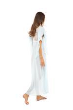 Chiffon & lace Long Nightdress - Light Blue