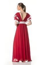 Chiffon & lace Long Nightdress - Red