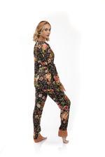 Floral Print long Pyjama Set with headband - Black
