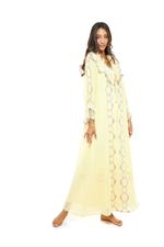 Cotton 2 piece Jalabiya with lace & frills - Yellow