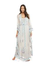 Chiffon & Tulle Embroidered Long Nightdress & Robe Set - Beige