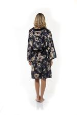 Luxury Velour Robe - Black Floral