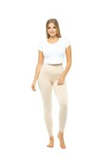 Long Leggings with Lace Trim - Beige