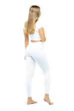 Long Leggings with Lace Trim - White
