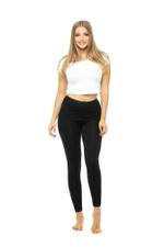 Long Leggings with Lace Trim - Black