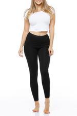 Long Leggings with Lace Trim - Black