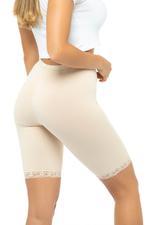 Short Leggings with Lace Trim - Beige
