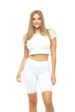 Short Leggings with Lace Trim - White