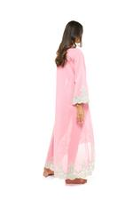 Long Voile Cotton Nightdress with Long Sleeves & embroidery - Coral