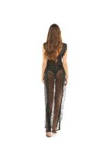 Black Long Lace Nightdress with String