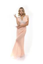 Chiffon & lace Long Nightdress - Coral