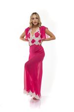 Chiffon & lace Long Nightdress - Fuschia