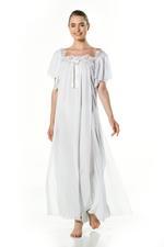 Double layered chiffon Long Nightdress - Mint/White