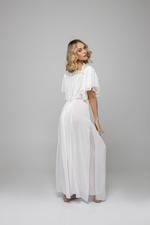 Double layered chiffon Long Nightdress - Pink/White