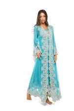 Jaipur Tulle, Satin & Lace Long Nightdress & Robe Set - Turquoise