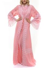 2 Piece Voile Cotton Jalabiya - Dark Peach