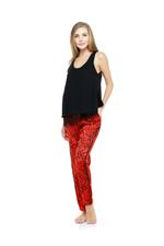Lace & printed Cotton pyjama set - Black/Red