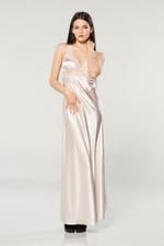 Long Soft Satin Nightdress - Peach