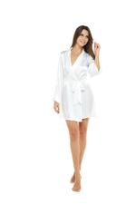 Short White Satin Robe