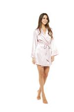 Short Rose Satin Robe