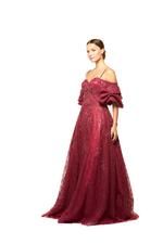 Fully Beaded Off- Shoulder Sweetheart Neckline Gown - Red