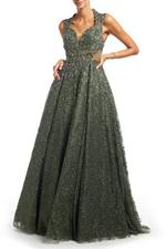 Beaded Lace Gown with Full Skirt - Green