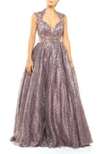 Beaded Lace Gown with Full Skirt - Rose