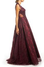 Beaded Lace Gown with Full Skirt - Bordeau