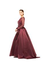 Fully Beaded Fitted Gown with Sleeves & Overskirt - Red