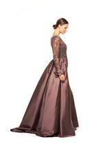 Fully Beaded Fitted Gown with Sleeves & Overskirt - Brown