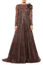 Fully Beaded Long Sleeve A-line Gown - Brown