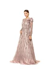 Fully Beaded Long Sleeve A-line Gown - Peach/Pink