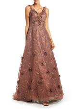 Lace Gown with Petals & Pearls - Brown