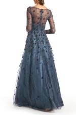 Satin Gown with Tulle Sleeves & Hand Beading  - Blue