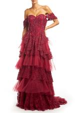 Fitted Off Shoulder Beaded Layered Lace Gown - Red