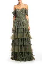 Fitted Off Shoulder Beaded Layered Lace Gown - Green