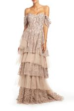Fitted Off Shoulder Beaded Layered Lace Gown - Beige