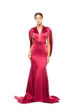 Open Back Satin Gown - Red