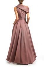 Crossover Satin Gown with beaded belt - Brown