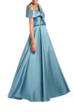Crossover Satin Gown with beaded belt - Turquoise